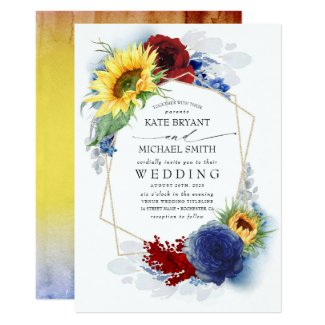 Navy Blue and Sunflower Wedding Invitations, Burgundy Red Roses Fall