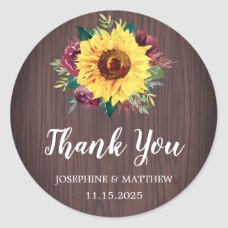 Sunflowers Burgundy Rose Wood Wedding Thank You Classic Round Sticker