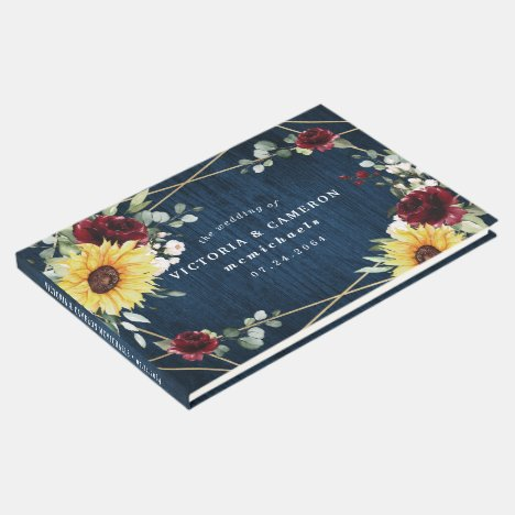 Sunflowers Burgundy Roses Navy Geometric Wedding Guest Book