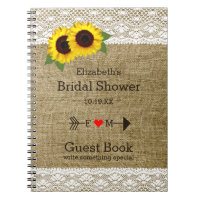 Sunflowers Burlap Lace Bridal Shower Guest Book |