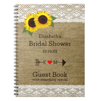 Sunflowers Burlap Lace Bridal Shower Guest Book |