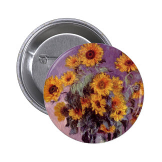 Sunflowers by Claude Monet Pinback Button