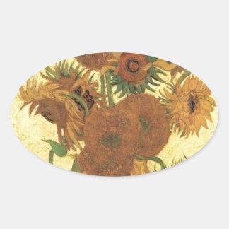 Sunflowers by Van Gogh Oval Sticker
