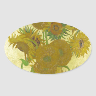 Sunflowers By Vincent Van Gogh Oval Sticker
