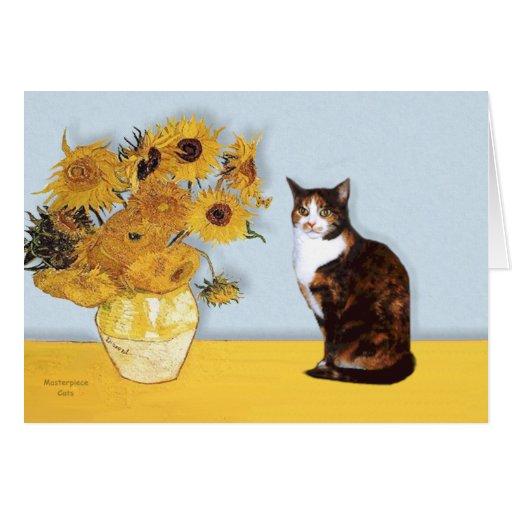Sunflowers - Calico cat Cards