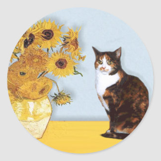 Sunflowers - Calico cat Classic Round Sticker
