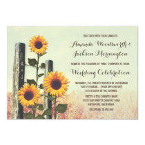 Sunflowers Carved Fence Post Wedding Invitations