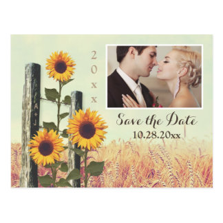 Sunflowers Carved Fence Save the Date Postcards