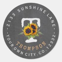 Sunflowers Chalk Monogram Circular Address Label