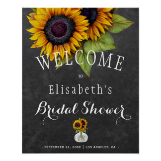 Sunflowers chalkboard autumn bridal shower poster