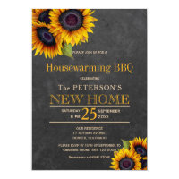 Sunflowers chalkboard autumn housewarming bbq invitation