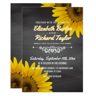 Sunflowers Chalkboard Rustic Country Wedding Card