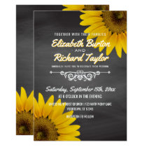Sunflowers Chalkboard Rustic Country Wedding Invitation