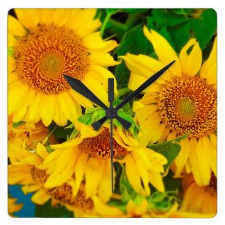 Sunflowers City Market KC Farmer's Market Square Wall Clock