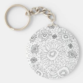 Sunflowers Coloring Page Keychain