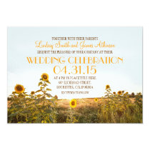 Sunflowers country rustic wedding invitation