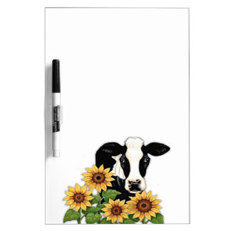 Sunflowers Cow dry erase board