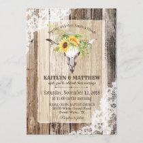 Sunflowers Cow Skull Barn Wood Rustic Wedding Invitation