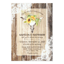 Sunflowers Cow Skull Barn Wood Rustic Wedding Invitation