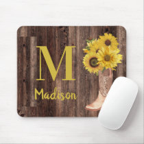 Sunflowers Cowgirl Boots Rustic Wood Monogram Mouse Pad