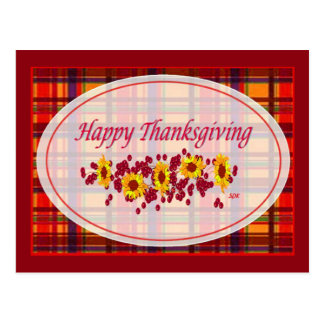 Sunflowers & Cranberries Happy Thanksgiving Day Postcard