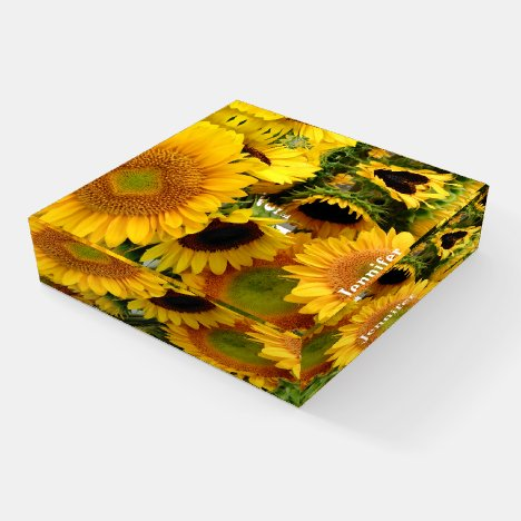 Sunflowers Customize Name Personal Greeting Glass Paperweight