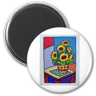 Sunflowers D 12 by Piliero 2 Inch Round Magnet