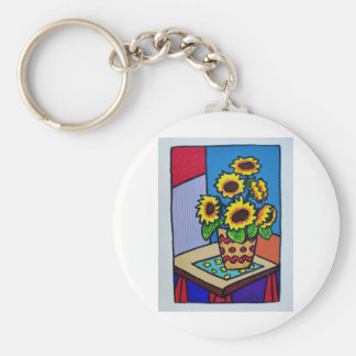 Sunflowers D 12 by Piliero Basic Round Button Keychain