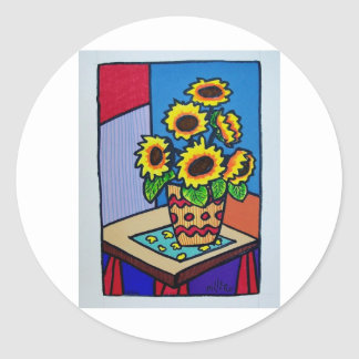 Sunflowers D 12 by Piliero Classic Round Sticker