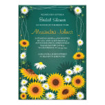 Sunflowers & Daisies Floral Bridal Shower Blue Invites