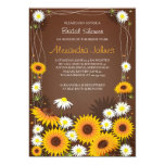 Sunflowers & Daisies Floral Bridal Shower Brown Announcements