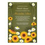 Sunflowers & Daisies Floral Bridal Shower Green Personalized Announcements