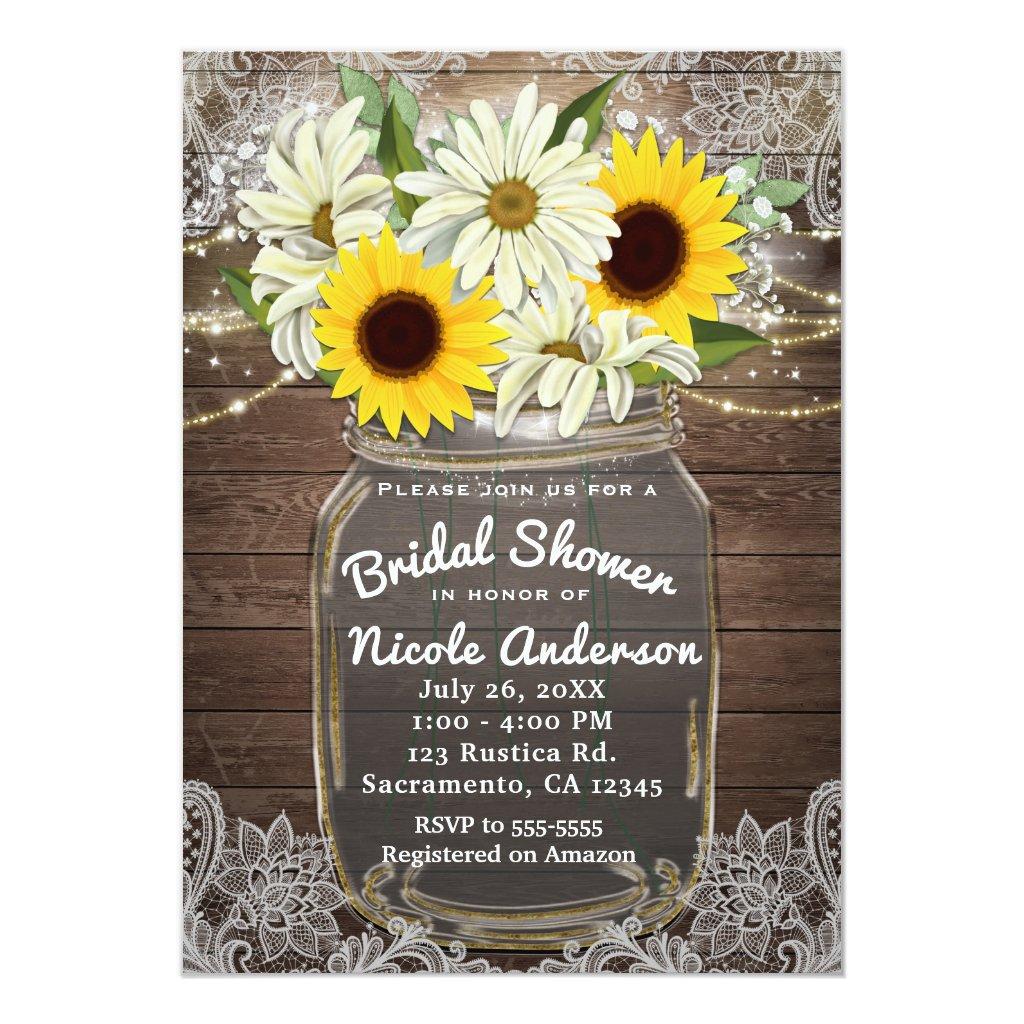 Sunflowers & Daisies Mason Jar Sparkle Rustic Chic Invitation