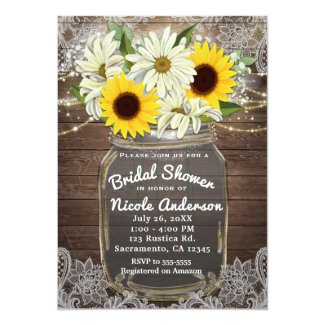 Sunflowers & Daisies Mason Jar Sparkle Rustic Chic Invitation