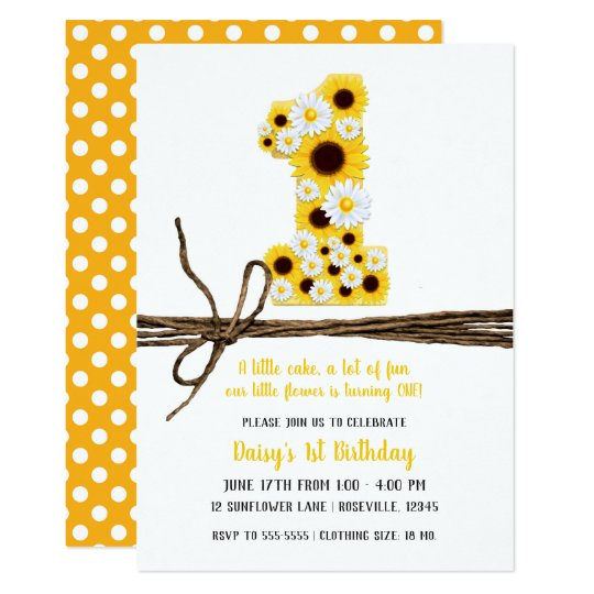 Sunflowers Daisies ONE 1st Birthday Party Invitation