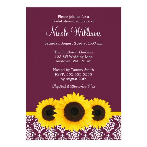 Sunflowers Deep Mulberry Damask Bridal Shower Custom Invitations
