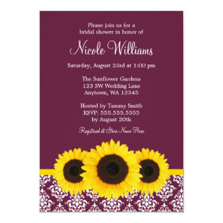 Sunflowers Deep Mulberry Damask Bridal Shower 5x7 Paper Invitation Card