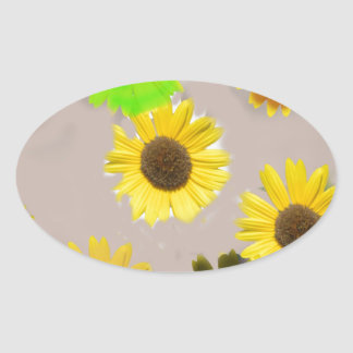 Sunflowers Edited In Photoshop Elements Oval Sticker