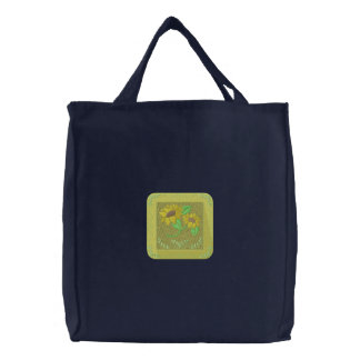 Sunflowers Embroidered Tote Bag
