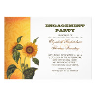 sunflowers engagement party invite