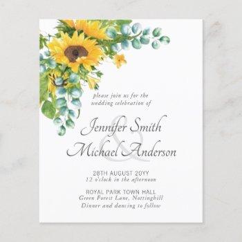 Sunflowers Eucalyptus Floral Leaf Wedding Invites