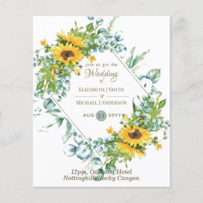 Sunflowers Eucalyptus Greenery Wedding Invitations