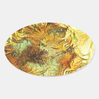 Sunflowers F. 375 ~ Van Gogh Oval Stickers