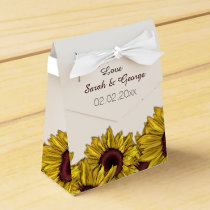 sunflowers floral personalized wedding favor boxes