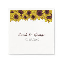 sunflowers floral personalized wedding napkins