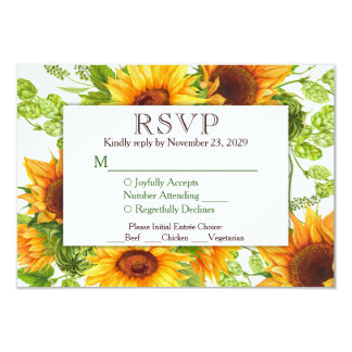 Sunflowers Floral RSVP Wedding Response w/ Meals Card