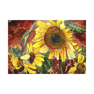 sunflowers flowers watercolor painting canvas print