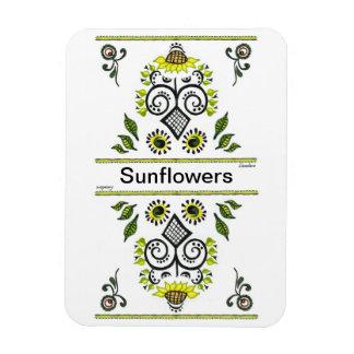 Sunflowers Folk Pattern by Alexandra Cook Magnet