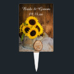 "Sunflowers Garden Watering Can Barn Wedding Cake Topper<br><div class=""desc"">Customize the country chic Sunflowers and Garden Watering Can Wedding Cake Pick with the personal names of the bride and groom and date for use on the dessert of a rural farm or ranch style bridal shower or marriage reception. This charming custom rustic wedding cake topper features a quaint digitally...</div>"