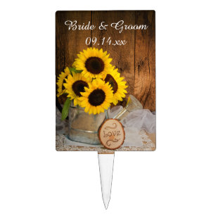 sunflowers garden watering can barn wedding cake topper
